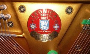 Bijący w oczy emblemat firmowy, na którym roi się od zabytkowych królów i carów. Z przodu widzimy facjatę Leopolda II - tego od Konga. Nic wspólnego te medale z legnickimi pianinami nie miały.