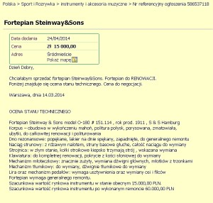 """Tu ten sam fortepian """"zdrożał"""" do 15.000 złotych. Nie ma to, jak odpowiednia inwestycja! Tak zyskać na wartości..."""